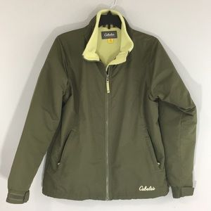Cabelas Womens M Fleece Lined Zip Up Coat Green